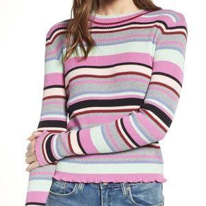 Bp ribbed lettuce edge strip sweater